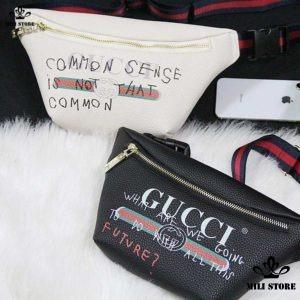 Túi đeo trước ngực eo hông bụng Gucci màu trắng đen da mềm