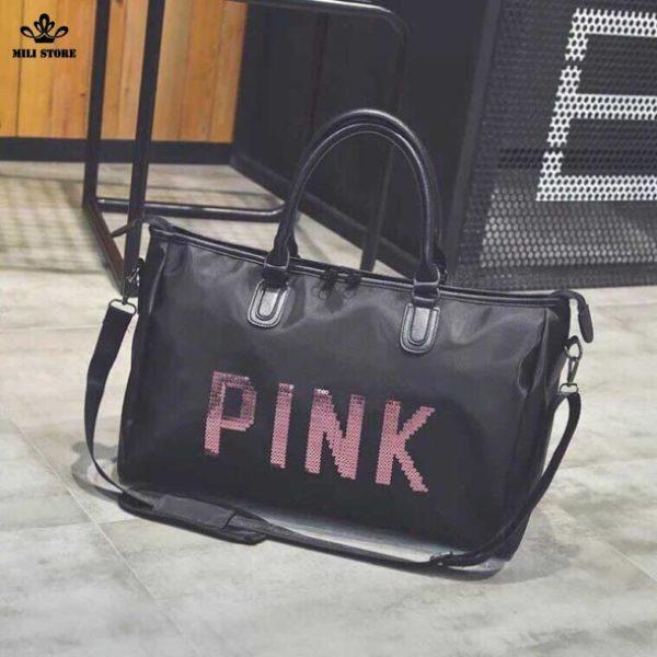 Túi đi du lịch pink sành điệu da mềm bóng nhám da sần nhẹ size 46