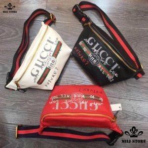 Túi xách Gucci đeo trước ngực bụng hông màu đỏ đen trắng hàng loại 1 da mềm