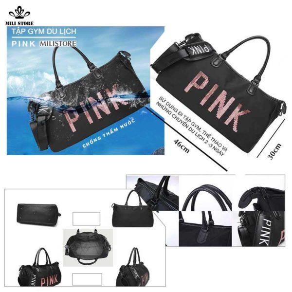 Túi xách pink tập gym du lịch big size lớn chống thấm nước