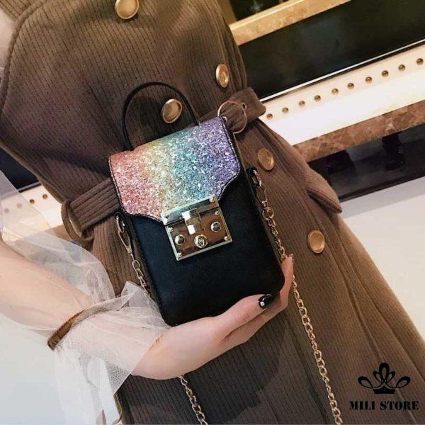 Túi đeo chéo đựng điện thoại hàng quảng châu loại 1 hàng tốt bền đẹp màu đen