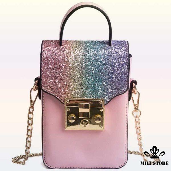Túi đeo chéo đựng điện thoại màu hồng kim tuyến cực đẹp giá rẻ