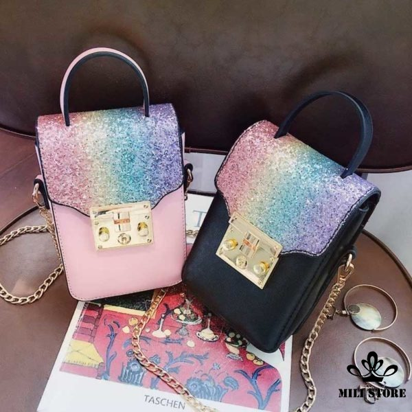 Túi đeo chéo trước bụng đựng điện thoại màu đen hồng xích vàng kim tuyến giá rẻ