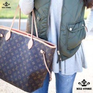 Túi xách LV Bên trong túi xách tay Bên trong túi Louis Vuitton Neverfull MM Monogram lót đỏ đi làm túi xách đi làm đi chơi size lớn đựng đồ thỏa sức size to