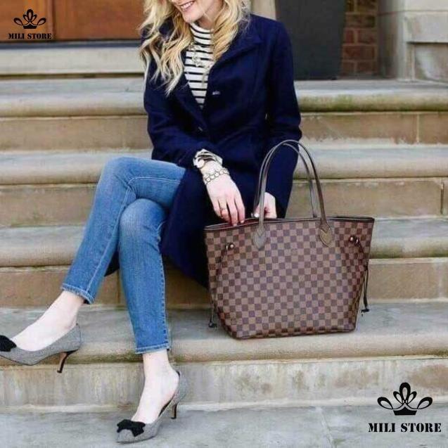 túi xách tay Louis Vuitton LV màu nâu size lớn