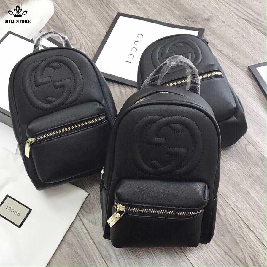 Balo mini Gucci form chuẩn F1 đẹp màu đen in chữ Gucci trước