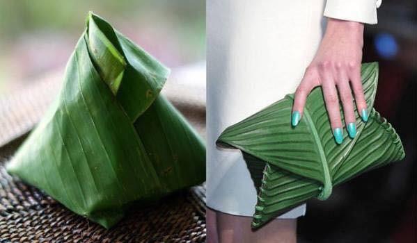 Chiếc túi Hermes có giá 4.000 USD (tương đương gần 91 triệu đồng) có vẻ bề ngoài giống với lá gói bánh ú. (Nguồn: SGCT)