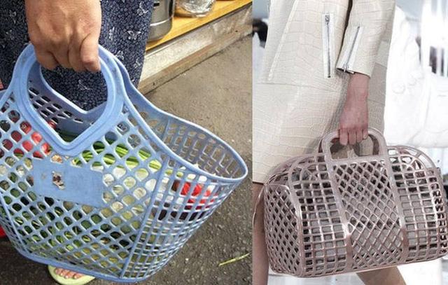 Chiếc túi xách hãng LV có giá 2.600 USD (khoảng 60 triệu đồng) nhìn rất giống chiếc làn nhựa đi chợ giá khoảng 100.000 đồng. (Nguồn: SGCT)