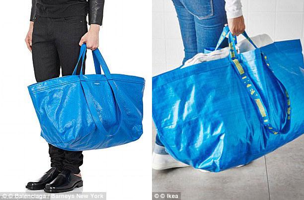 Một mẫu túi xách khác từng gây sửng sốt của thương hiệu này có giá tương đương gần 50 triệu đồng (trái) có diện mạo trông như một chiếc túi nhựa đựng đồ của một hãng siêu thị nội thất (phải). Chiếc túi đắt tiền được làm từ chất liệu da và được tạo nếp nhăn để trông giống chiếc túi nhựa.