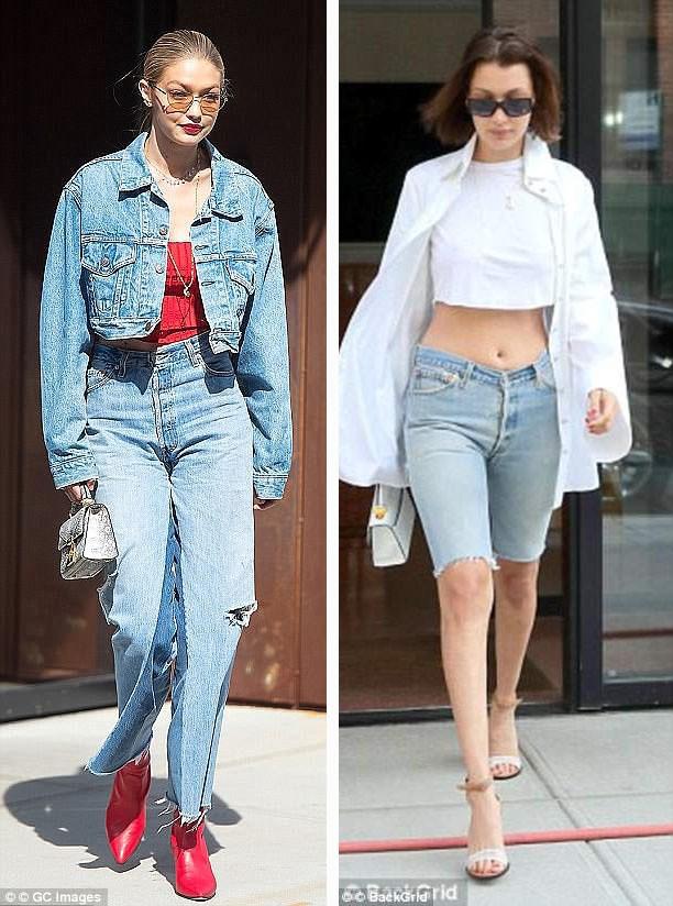 """Chị em người mẫu Gigi Hadid (trái) và Bella Hadid (phải) đều thích thú với phong cách túi """"mini""""."""