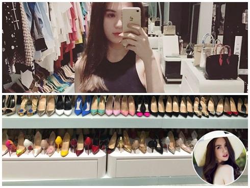 Ngọc Trinh quay clip hé lộ tủ giày to như siêu thị tại gia