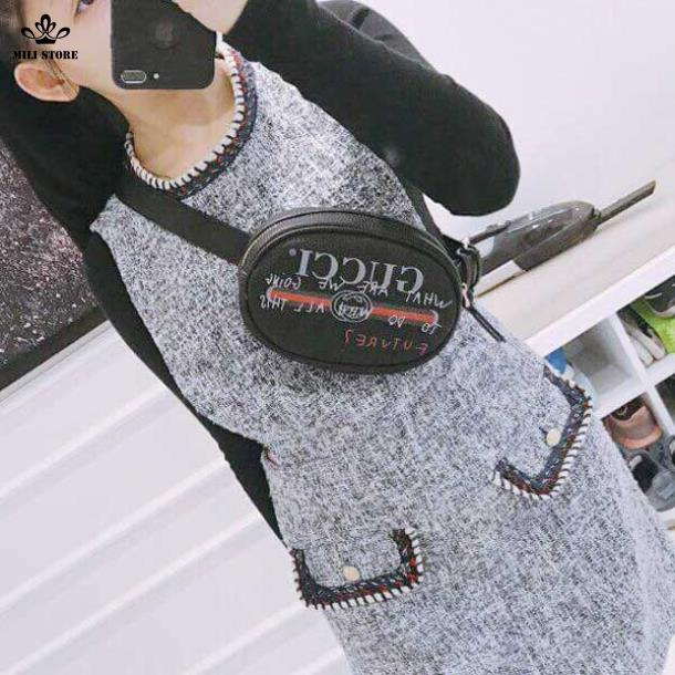 Túi đeo chéo trước ngực đeo hông, đeo bụng, đeo eo hiệu Gucci màu đen