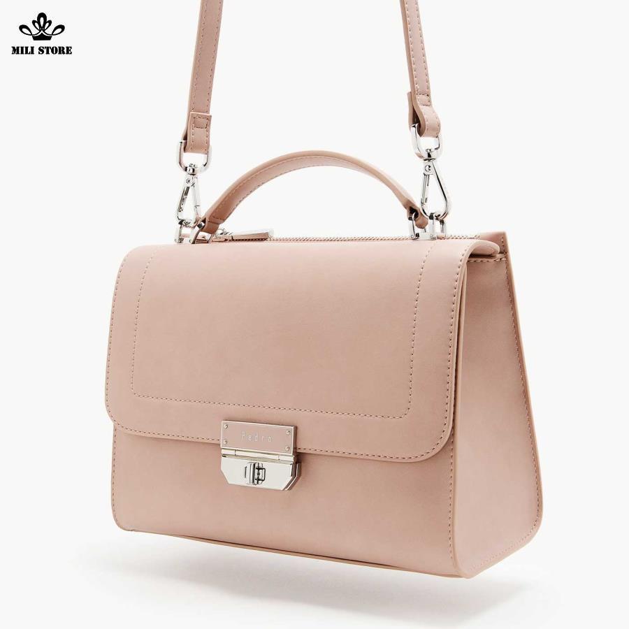 Túi Pedro màu hồng da trơn, da bóng công sở xinh tươi