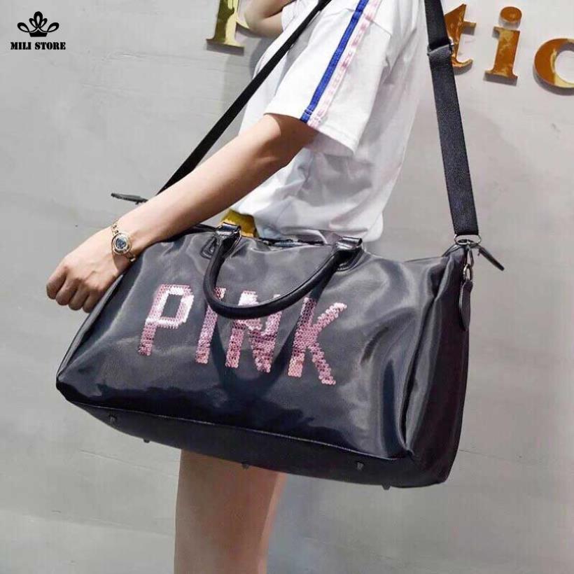 Túi xách đi du hý  pink hồng đen da mềm