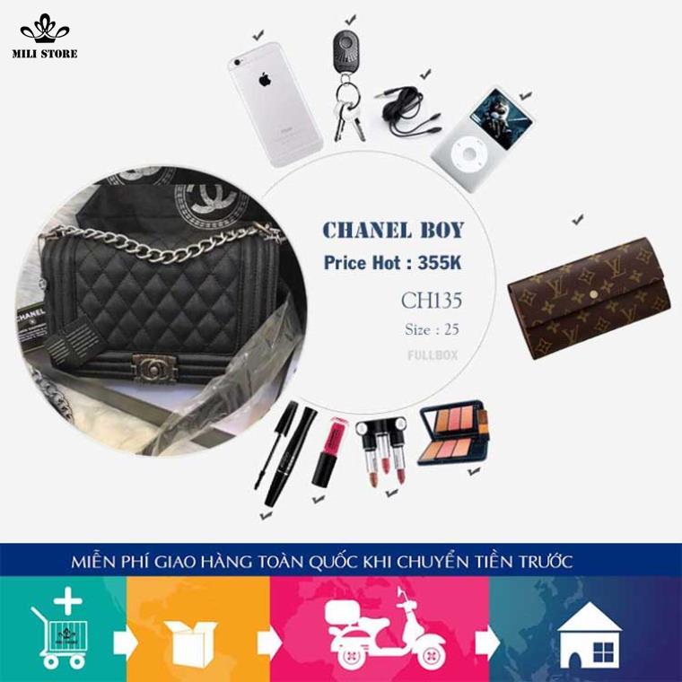 chanel boy size 25 fullbox giá cực rẻ da sần