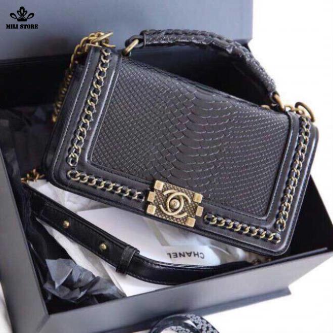 Túi Chanel boy loại 1, hình vân rắn, vảy da rắn cứng đẹp