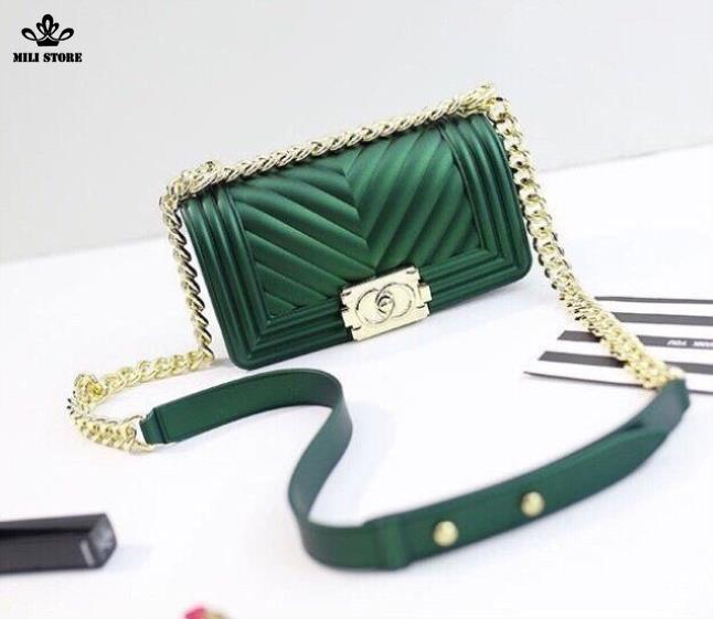 Túi xách Chanel nhựa, túi xách Silicon màu xanh dây da pha xích