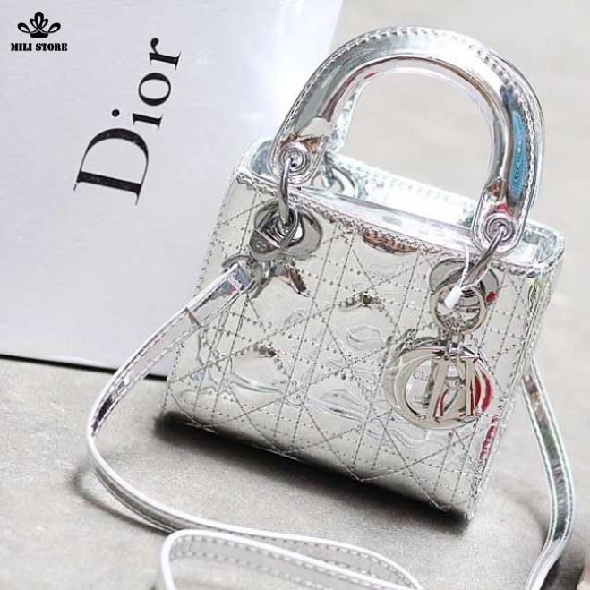 Túi xách Dior màu Bạc, dây pha xích trơn bóng, hàng Super FullBox có hộp