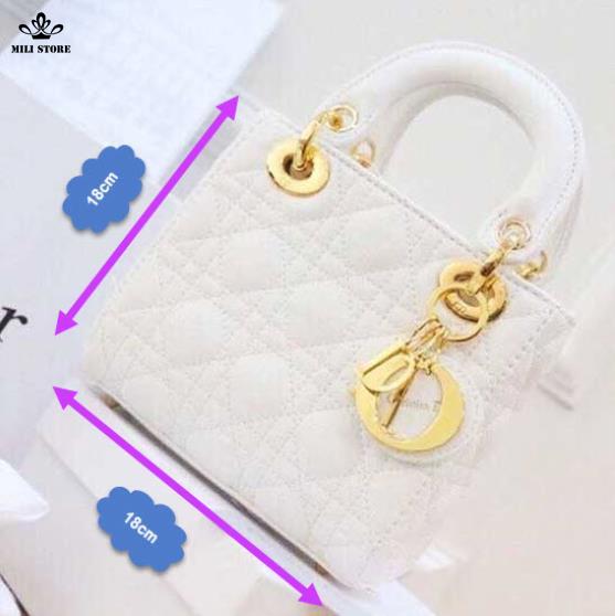 Túi Dior màu trắng 4 Ô hàng Super Sale đẹp Full Box
