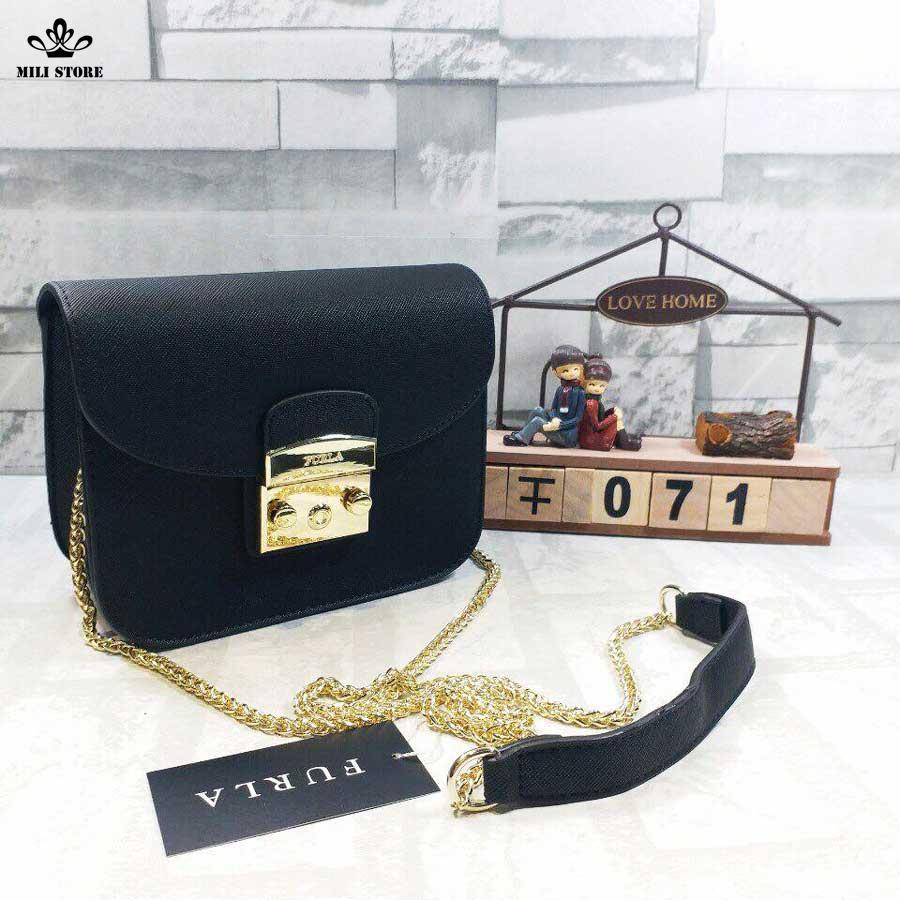 furla mini túi hộp một màu đen tuyền đẹp