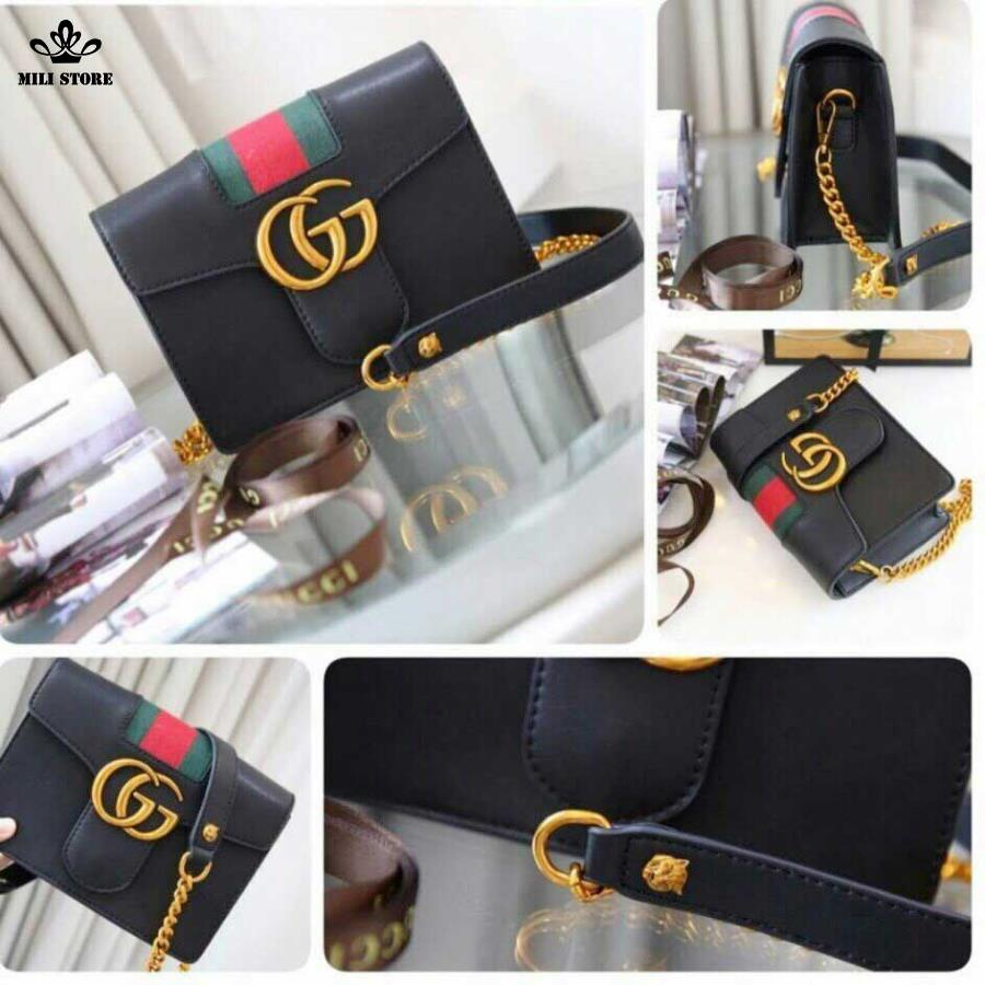 Túi Gucci hộp màu đen viền xanh đỏ