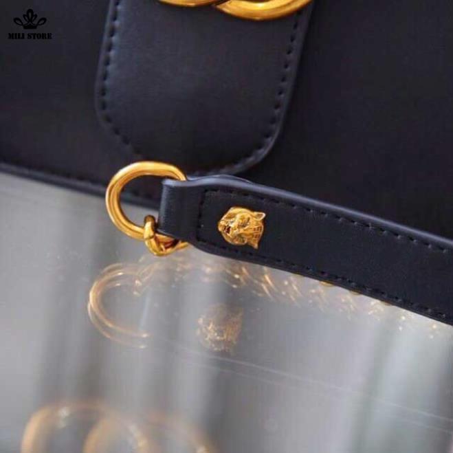 Túi xách Gucci hộp màu đen xích pha da