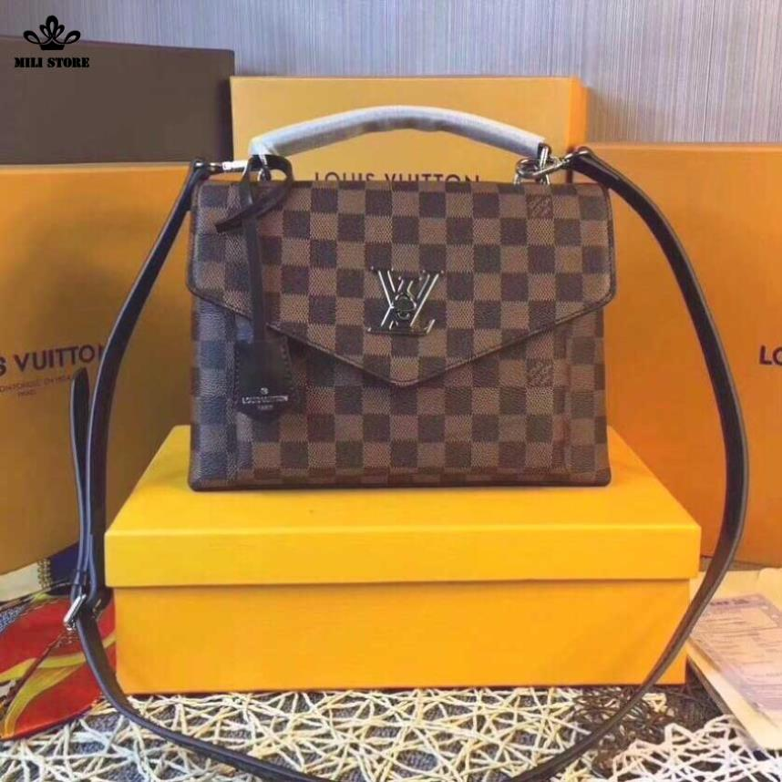 Túi xách tay hiệu Louis Vuitton LV ô vuông màu nâu quai trang sữa khóa LV