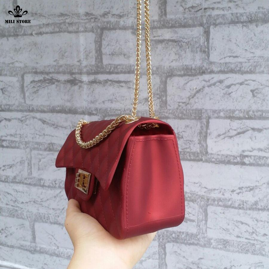 túi xách chanel màu đỏ đeo đẹp đẽ  đẹp logo silicon