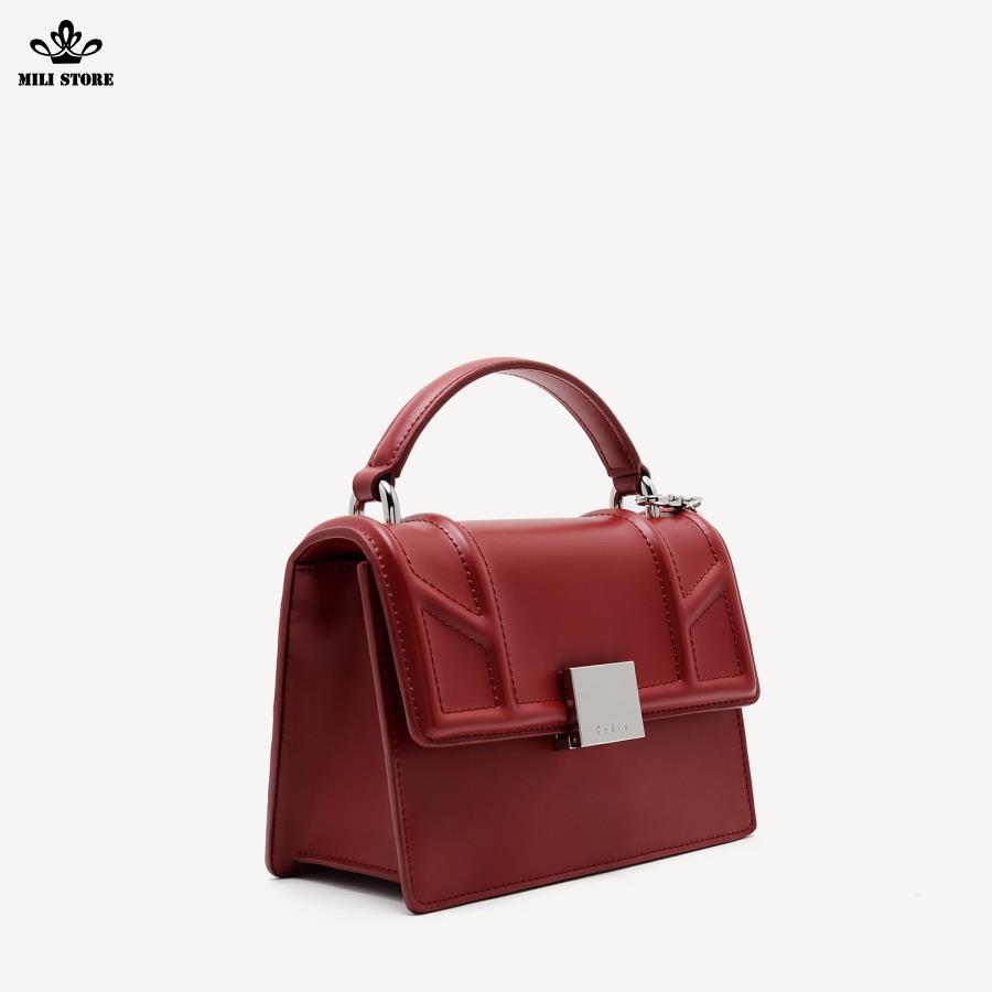 Túi xách Pedro màu đỏ hộp vuông da cứng from cứng