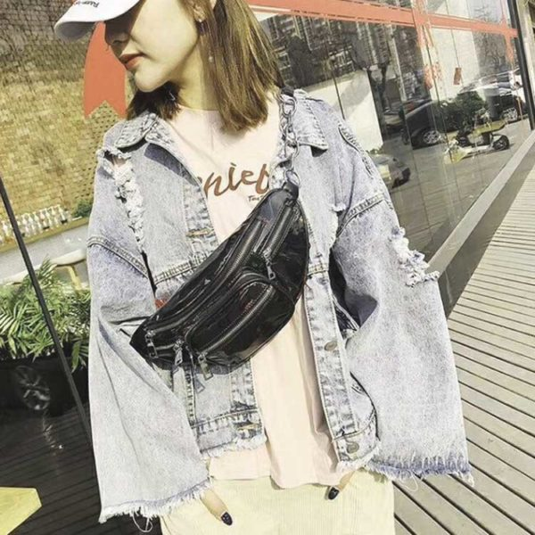 Túi đeo chéo trước ngực cho nữ, túi nịt bụng túi da mềm bóng
