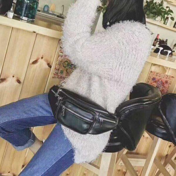 Túi xách đeo chéo da mềm bóng đeo hông và bụng