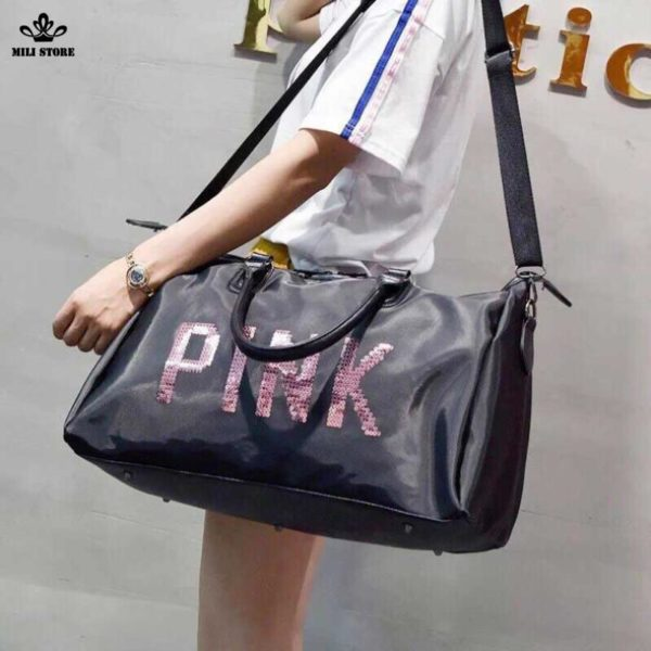Túi xách đi du lịch pink hồng đen da mềm