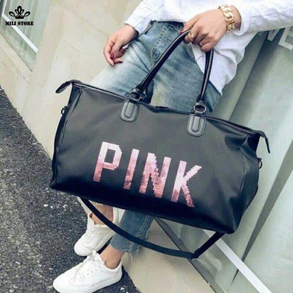 Túi xách pink size 46 big lớn du lịch