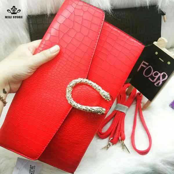 mua ví nữ clutch vân khóa rồng màu đỏ mẫu 2016 2017