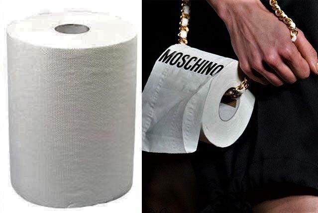 Một món phụ kiện ủa hãng Moschino với giá 900 Euro (khoảng hơn 25 triệu đồng) nhìn không khác cuộn giấy vệ sinh giá 3.000 đồng. (Nguồn: SGCT)