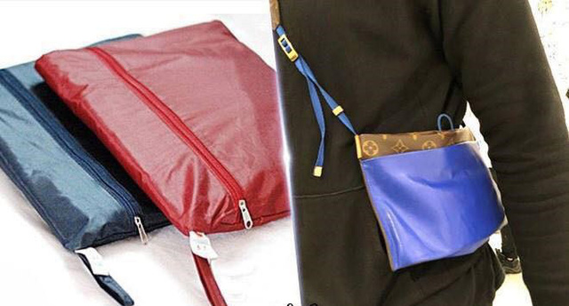 Chiếc túi đeo chéo hãng LV được bán với giá 4.500 USD (khoảng 103 triệu đồng) có hình dạng khá giống chiếc túi đựng áo mưa. (Nguồn: SGCT)