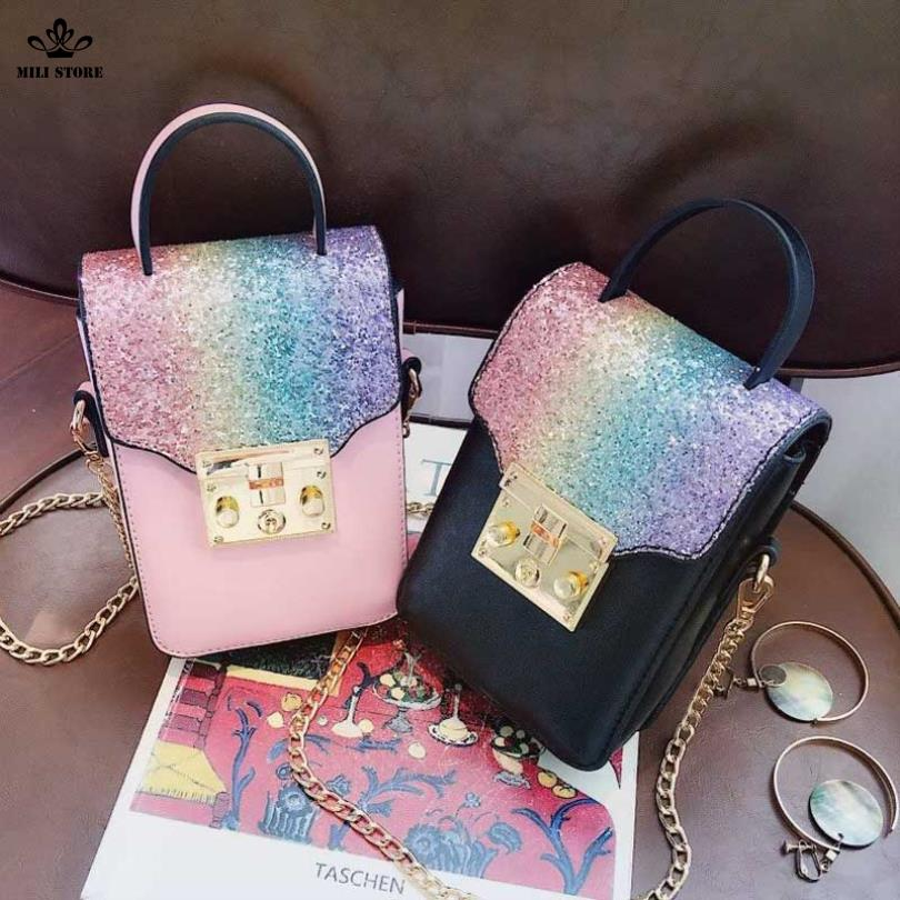 Túi đeo chéo trước bụng, đựng thiết bị cầm tay , túi màu đen hồng xích vàng ánh kim tuyến giá tốt