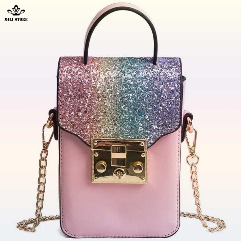 Túi đeo chéo đựng thiết bị cầm tay màu hồng ánh kim tuyến cực đẹp giá tốt