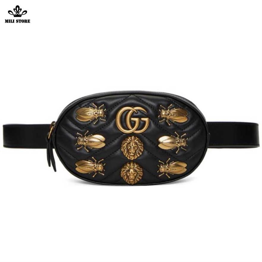 Túi đeo hông hiệu Gucci đính ong dáng bầu, dáng tròn