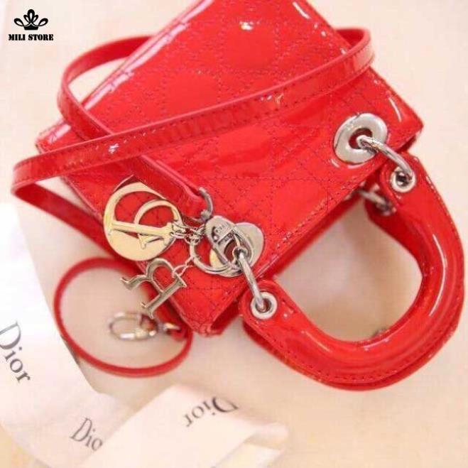 Túi Dior 3 Ô hàng Super sang chảnh màu đỏ, khóa vàng