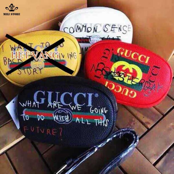 Bộ 3 túi Gucci đeo bụng, đeo hông, đeo trước ngực màu đen trắng đỏ