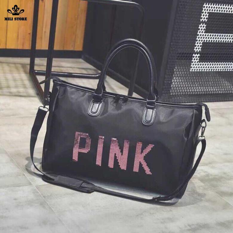 Túi đi du hý  pink sành điệu da mềm bóng nhám da sần nhẹ size 46