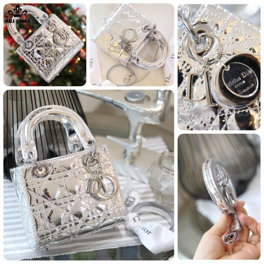 Túi xách Dior da bóng, trơn bóng, màu bạc, Dây da pha xích