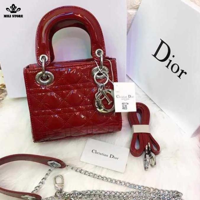 Túi xách Dior màu đỏ dây da pha xích, khóa màu bạc, trắng, hàng Fullbox Super chất lượng