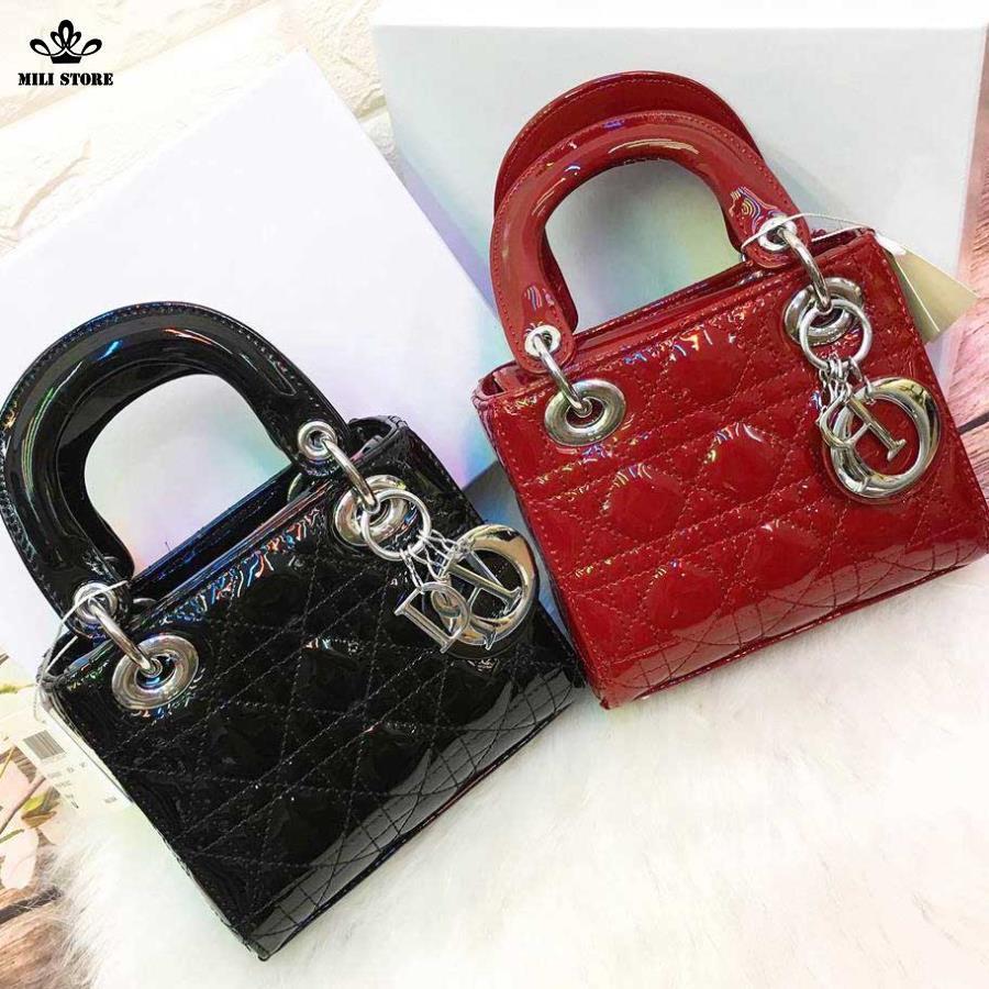 Túi Dior lady hàng Super Fullbox có hộp màu đỏ đen khóa bạc, da trơn bóng