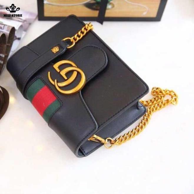 Túi xách nữ Gucci màu đen mẫu mới 2018, da mịn