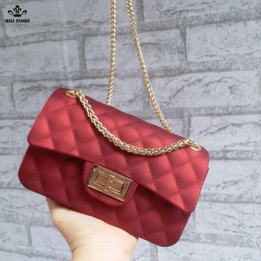 túi xách nữ màu đỏ hiệu chanel nhựa silicon