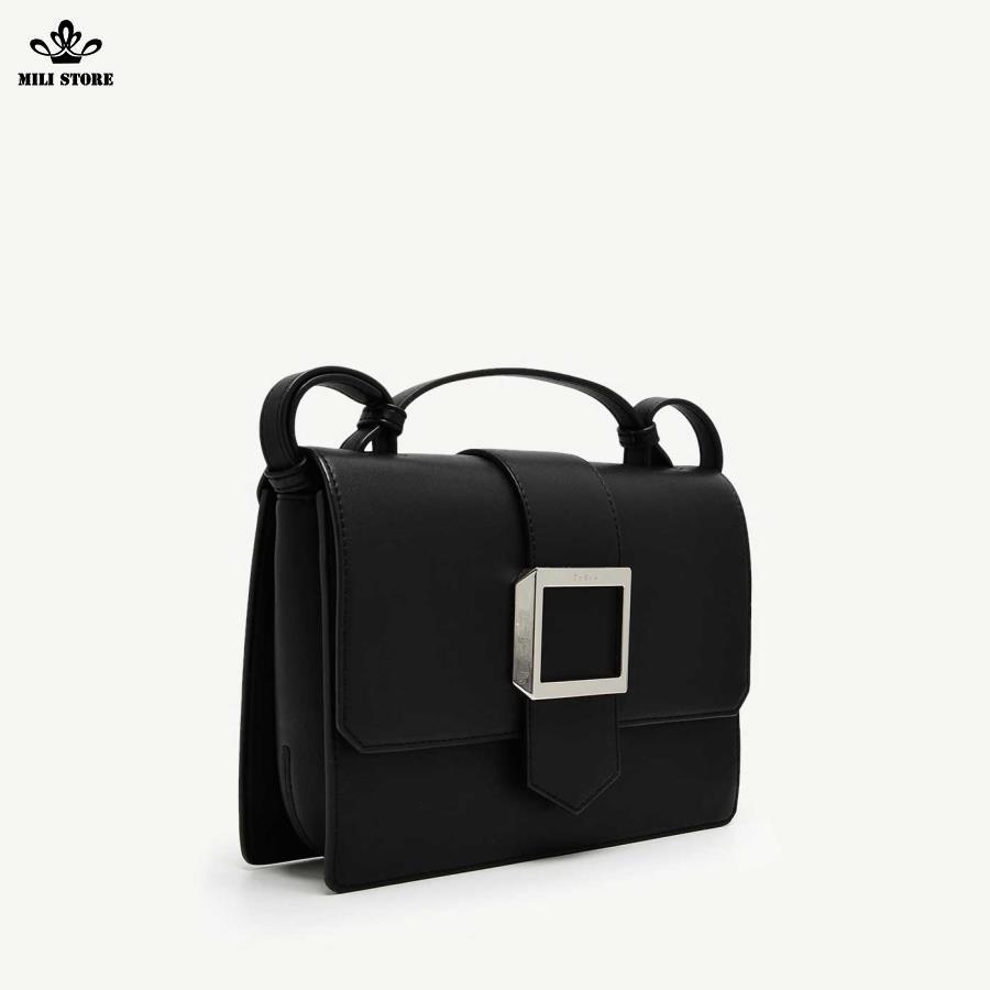 Túi Pedro đem đi  làm, túi màu đen khóa trắng bạc
