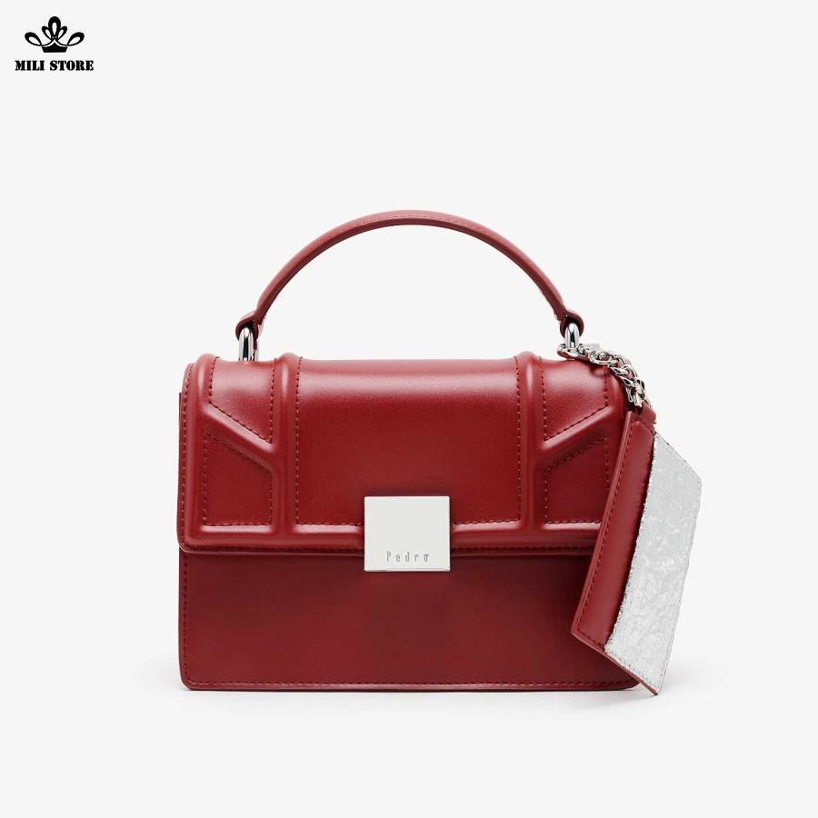 Túi xách Pedro màu đỏ có Tag đỏ xám dây da pha xích