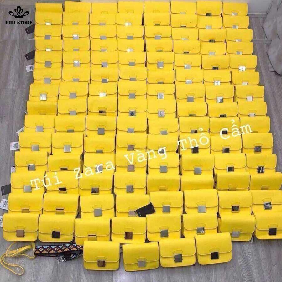 Túi xách zara dây thổ cẩm loại 1 với 2 dây màu vàng